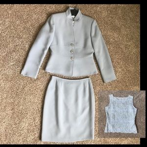 Tahari ASL Jacket & Skirt Suit with Lace Shell